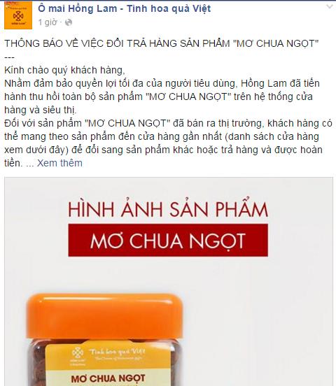 Ô mai Hồng Lam chính thức xin lỗi khách hàng - ảnh 2