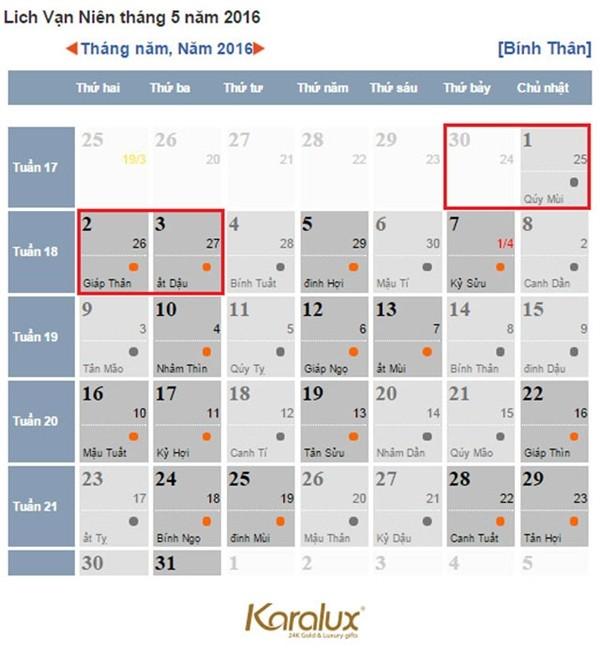 Lịch nghỉ lễ Giỗ tổ Hùng Vương và 30/4, mùng 1/5 năm nay - ảnh 1