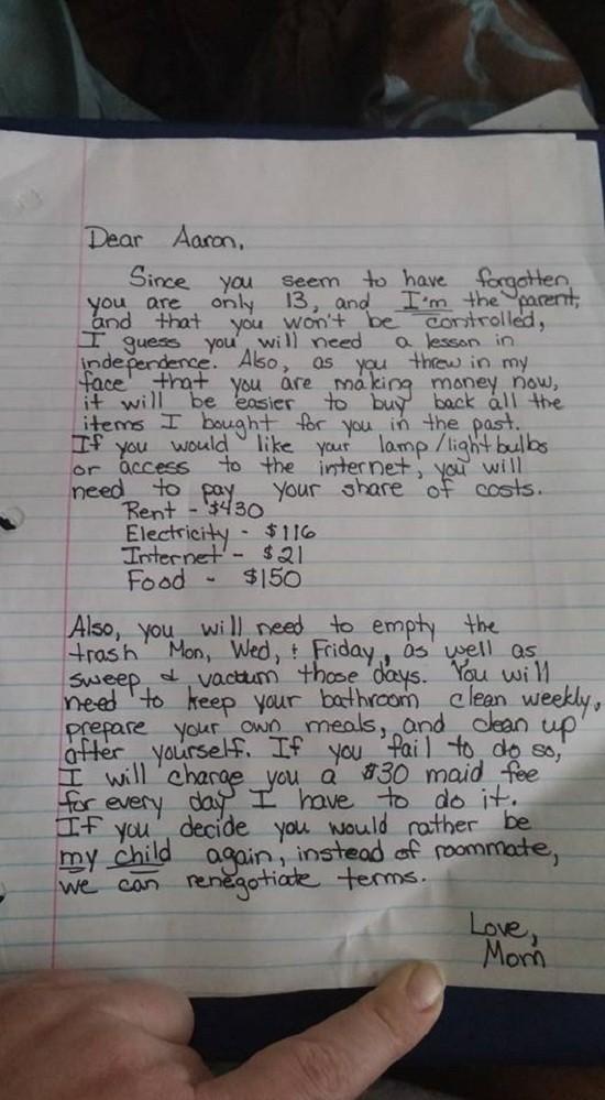 Bà mẹ gửi tâm thư thú vị tới con trai hư - ảnh 1