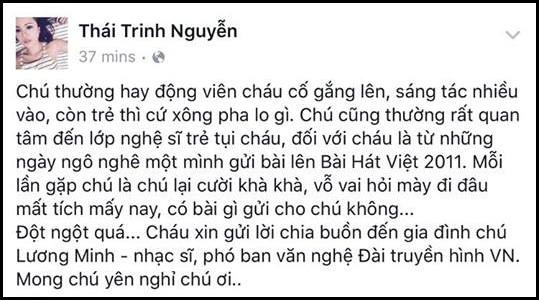 Nghệ sĩ Việt tiếc thương nhạc sĩ Lương Minh - ảnh 3