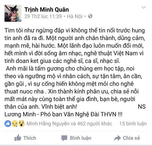 Nghệ sĩ Việt tiếc thương nhạc sĩ Lương Minh - ảnh 6