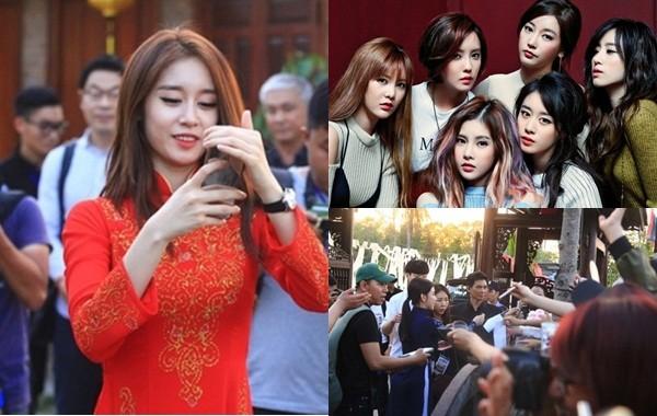 Fan Việt náo loạn vì nhóm T-ara diện áo dài thướt tha tại Sài Gòn - ảnh 1