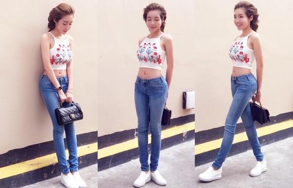 'Gái 2 con' Elly Trần diện áo crop top khoe 3 vòng bốc lửa - ảnh 1