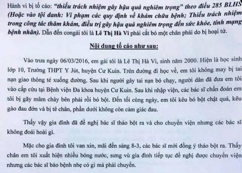 Vụ nữ sinh bị cưa chân: Gia đình gửi đơn tố cáo 5 cán bộ y tế - ảnh 2