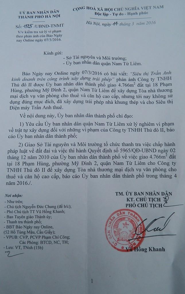 UBND TP Hà Nội: Xử lý nhà trái phép cho siêu thị Trần Anh thuê - ảnh 1