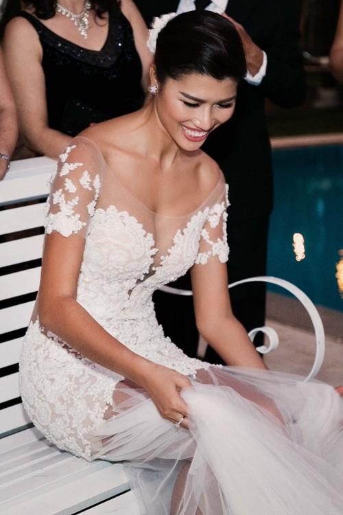 Trang Lạ gợi cảm bên chồng Việt kiều trong hôn lễ ở biệt thự - ảnh 3
