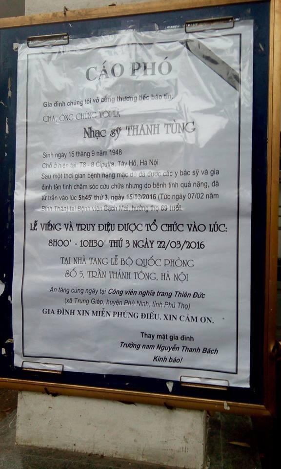 Gia đình NS Thanh Tùng đặt biển 'xin miễn nhận tiền phúng điếu' - ảnh 9