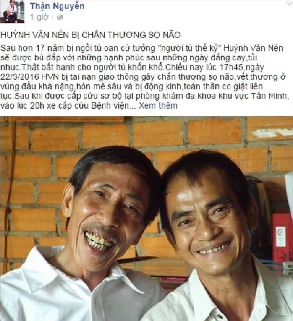 'Người tù thế kỷ' Huỳnh Văn Nén bị chấn thương sọ não khi tập xe - ảnh 1