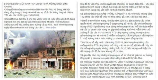 Tâm thư cầu cứu Chủ tịch Hà Nội của người dân KĐT Văn Phú - ảnh 1
