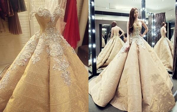 Cận cảnh 2 chiếc váy cưới gần nửa tỷ của 'công chúa' Thúy Diễm - ảnh 1