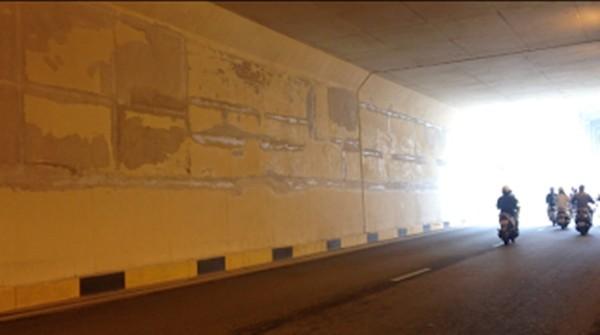 'Tận mục' hầm chui 551 tỷ vừa khánh thành đã sửa chữa nham nhở - ảnh 7