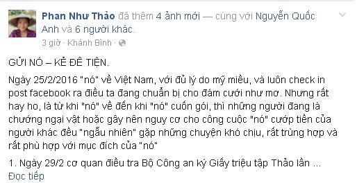 Phan Như Thảo tố kẻ dùng người giả danh công an hại vợ chồng cô - ảnh 2
