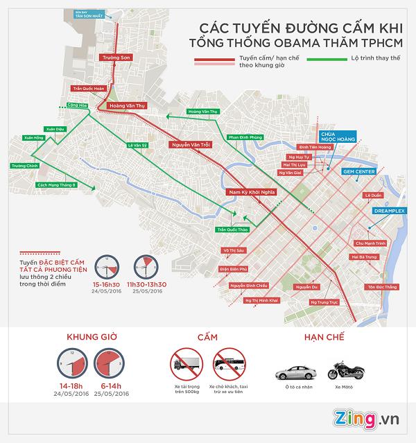 Sơ đồ cấm đường đón Tổng thống Obama đến Sài Gòn - ảnh 1