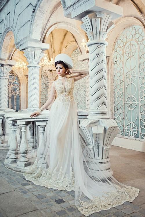 Vân Trang hóa thân làm cô dâu dịu dàng trong tà áo dài của NTK Huỳnh Lợi - anh 14