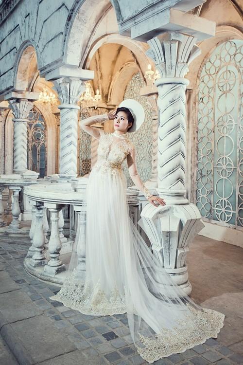 Vân Trang hóa thân làm cô dâu dịu dàng trong tà áo dài của NTK Huỳnh Lợi - anh 15