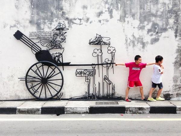 Ngỡ ngàng với bức tranh nghệ thuật trên đường phố Penang - anh 4