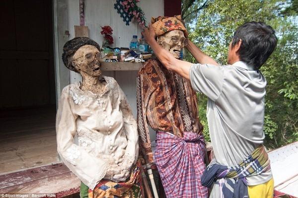 Rợn người nghi lễ đào mộ tắm rửa cho xác chết tại Indonesia - anh 1