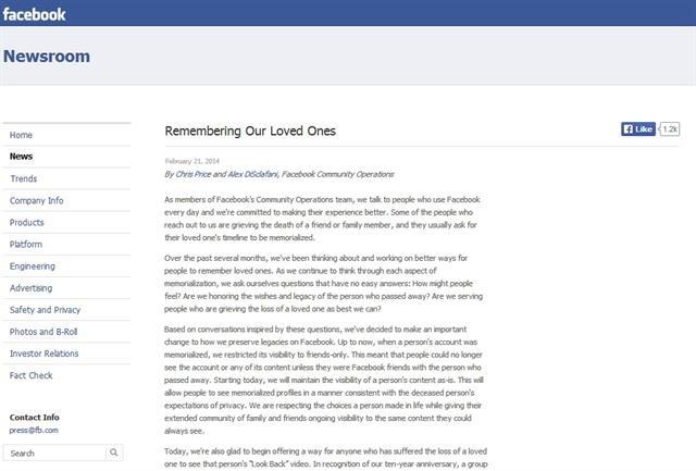 """Facebook của người đã khuất có thể đặt ở chế độ """"tưởng nhớ"""" - anh 2"""