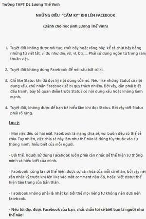 """Trường THPT """"cấm"""" học sinh viết status dễ gây hiểu lầm trên facebook - anh 2"""