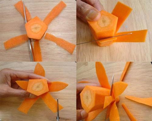 Cách cắt tỉa hoa từ cà rốt thêm sắc màu đón Tết - anh 4