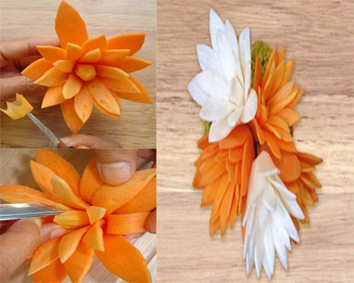 Cách cắt tỉa hoa từ cà rốt thêm sắc màu đón Tết - anh 5