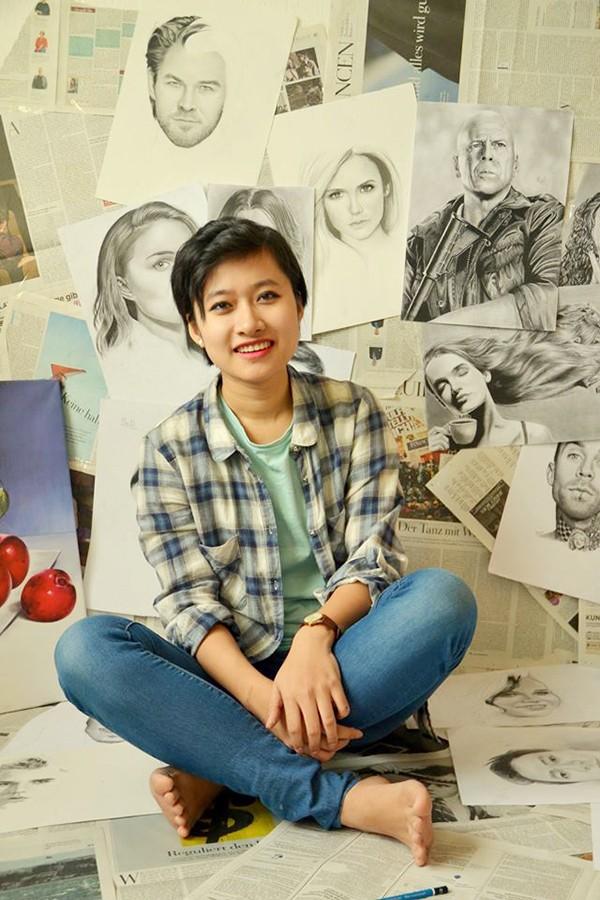 Nữ du học sinh Việt tại Đức vẽ tranh đẹp như họa sĩ - anh 1