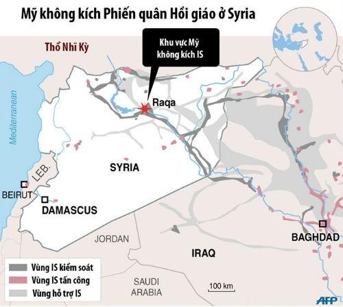 Mỹ tiến hành đợt không kích đầu tiên tấn công sào huyệt IS tại Syria - anh 1