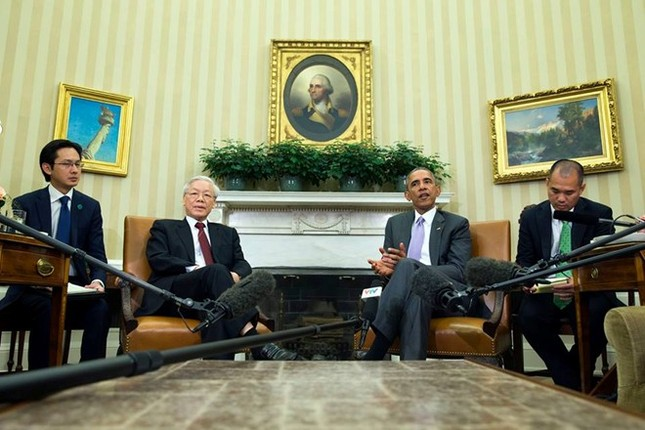 Toàn cảnh cuộc gặp ấn tượng của Tổng Bí thư Nguyễn Phú Trọng và Tổng thống Obama tại Nhà Trắng - anh 4