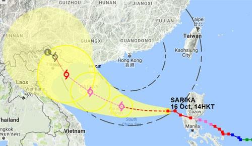 Bão Sarika sẽ đổ bộ vào Việt Nam - ảnh 1