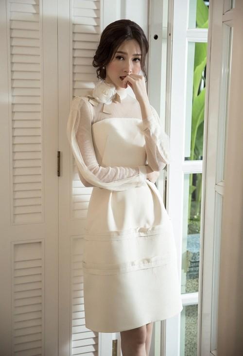 Hoa hậu Thu Thảo hóa cô dâu với váy cưới xuyên thấu - ảnh 5