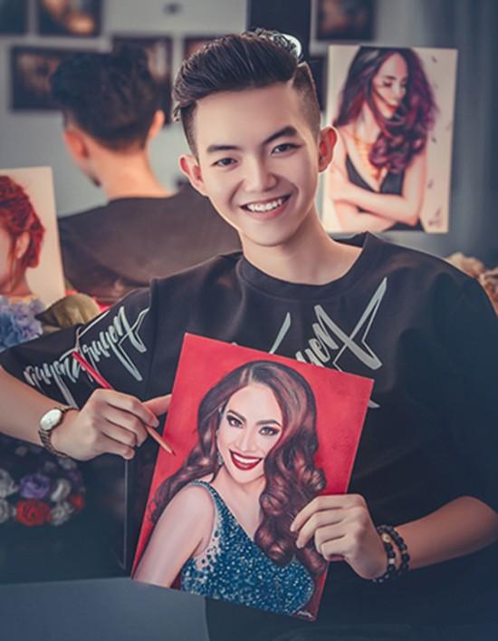Chàng trai 16 tuổi chuyên vẽ chân dung sao Việt - ảnh 1